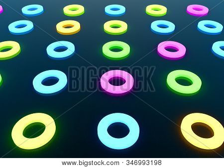 3d Render Of Glowing Different Colour Circles On A Blue Scratchy Texture Background