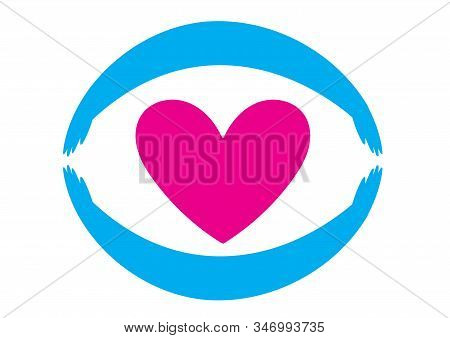 Silhouette Hugging Heart Concise Illustration For Your Design