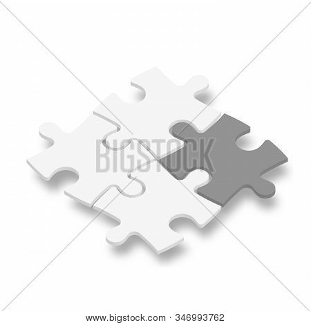 3d Jigsaw Puzzle Pieces. White Pieces With One Dark Grey Highlighted. Team Cooperation, Teamwork Or