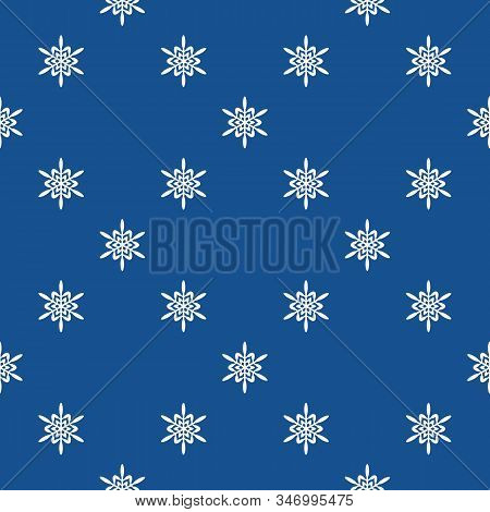 Vector Geometric Snowflakes Seamless Pattern. Minimalist Winter Texture With Small White Snow Flakes