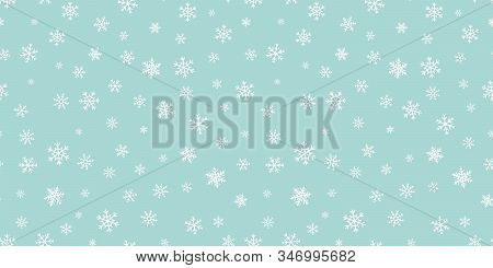 Vector Snowflakes Background. Simple Christmas And New Year Seamless Pattern With Snow, Different Sm
