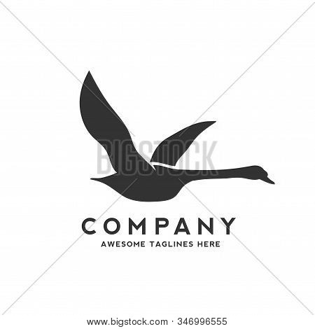 Swan Fly Logo Design Template Vector Illustration