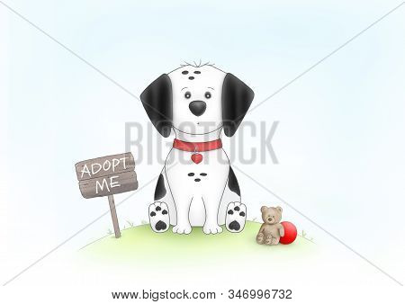 Cute Hand Drawn Illustration Of Sad Puppy Dog, Sitting On Grass Next To Wooden Sign With Text Adopt