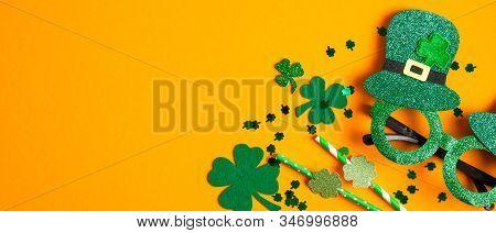 St Patricks Day Background With Clovers Shamrock Symbols, Patrick's Day Party Glasses, Drinking Stra