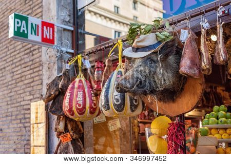 Rome, Italy - November 11, 2018: Counter Of The Minimarket In Rome, Italy With Fruits, Meats. Exteri