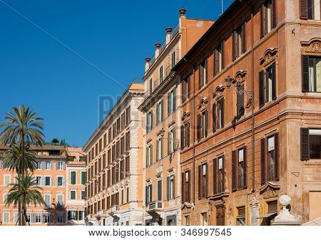 Colorful Street Of Rome City And Capital Of Italy