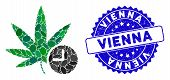 Collage weed time icon and corroded stamp watermark with Vienna text. Mosaic vector is composed with weed time icon and with scattered elliptic items. Vienna stamp seal uses blue color, poster