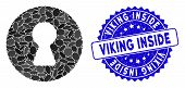 Mosaic inside icon and corroded stamp watermark with Viking Inside caption. Mosaic vector is designed with inside icon and with random elliptic elements. Viking Inside stamp seal uses blue color, poster