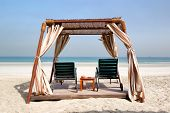 Hut on the beach of luxury hotel Ajman UAE poster