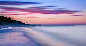 Ocean Sunset Sky - Gorgeous Panorama Twilight Sky And Peaceful Water Background