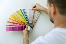 Man Selecting Paint Color From Swatch For Room Wall
