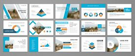 Blue Abstract Presentation Slide Templates. Infographic Elements Template  Set For Web, Print, Annua