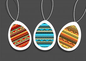 Vector Illustration With Abstract Decorative Easter Eggs.