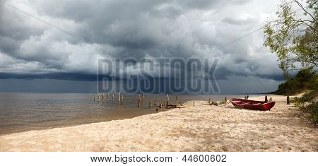 Storm Is Coming In A Lonely Beach