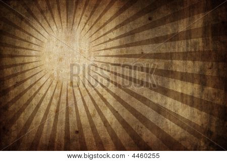 Grunge Old Paper Texture Background With Radial Sunburst Rays