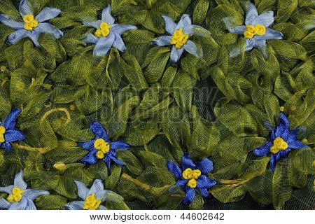 Blue Embroidered Flowers