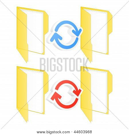 Synchronization Folder Icons. Vector Illustration