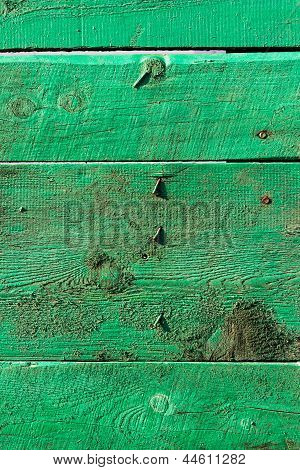 Green Wooden Boards With Nails