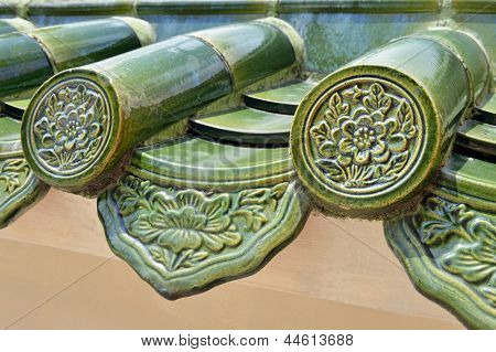 Traditional glazed roofing tiles on chinese temple