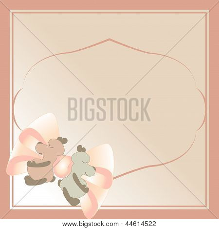 Teddy bear toy pink frame. Vector illustration.