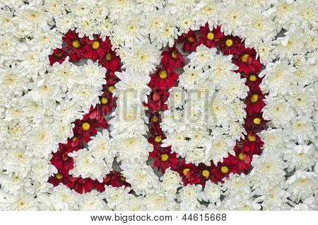 Red Fresh Flowers Arrangement Forming Number 20