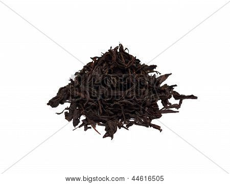 Small Handful Of The Black Tea Isolated On White