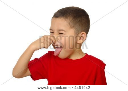 Seven-year-old Boy Holding Nose