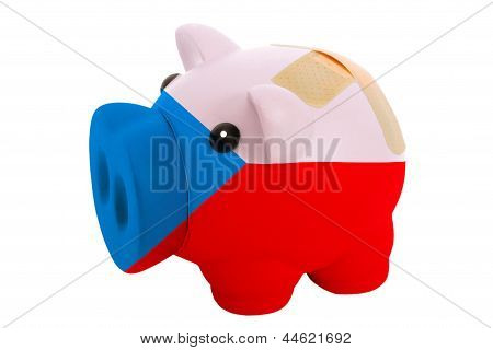 Closed Piggy Rich Bank With Bandage In Colors National Flag Of Czech