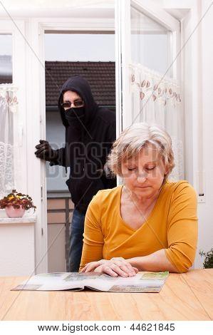 Burglar Surprise Unwary Senior