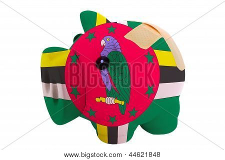 Closed Piggy Rich Bank With Bandage In Colors National Flag Of Dominica