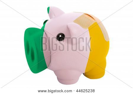 Closed Piggy Rich Bank With Bandage In Colors National Flag Of Ireland