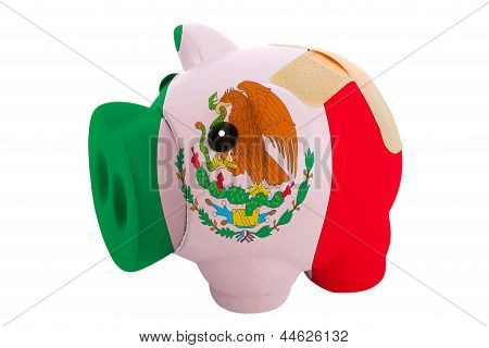 Closed Piggy Rich Bank With Bandage In Colors National Flag Of Mexico