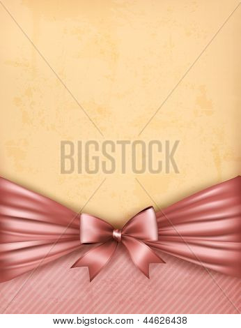 Vintage Background With Old Paper With Gift Bow And Ribbon. Vector