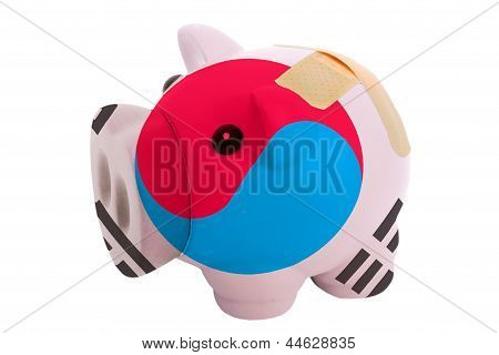 Closed Piggy Rich Bank With Bandage In Colors National Flag Of South Korea