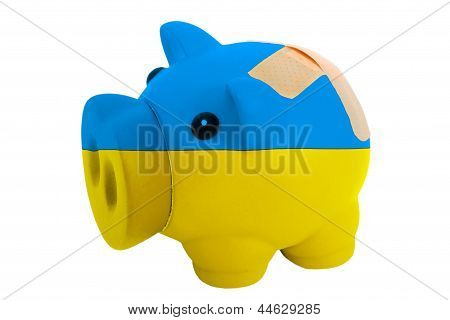 Closed Piggy Rich Bank With Bandage In Colors National Flag Of Ukraine