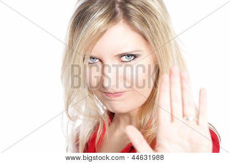 Woman Making A Halt Gesture