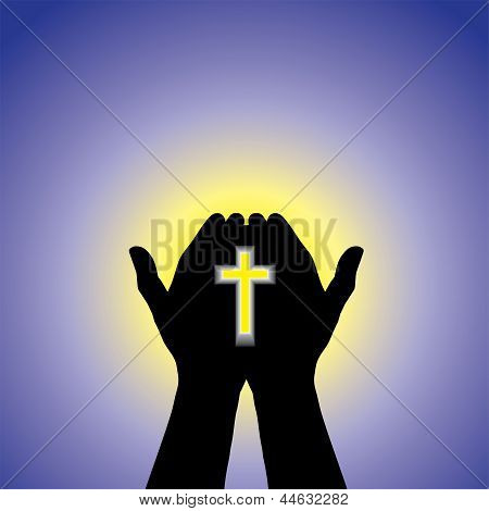 Person Praying Or Worshiping With Cross In Hand - Concept Illustration