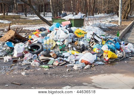 many household garbage and urban dumpster  outdoor poster