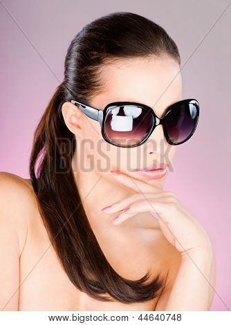 Woman With Big Black Sun Glasses