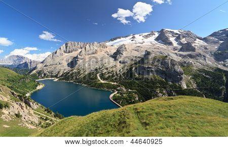Dolomiti - Fedaia Lake And Marmolada Mount
