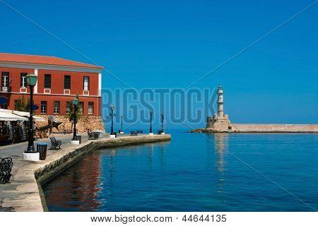 Promenade And Lighthouse In Chania, Crete, Greece