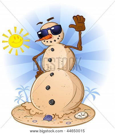 Beach Sand Snowman Cartoon