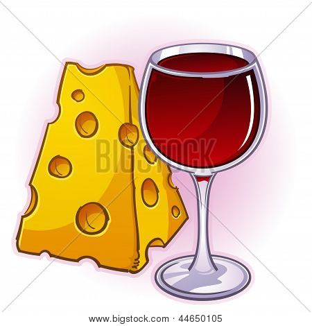 Wine and Cheese Cartoon Illustration