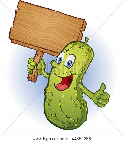 Smiling Pickle Holding A Sign