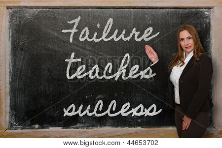 Teacher Showing Failure Teaches Success On Blackboard