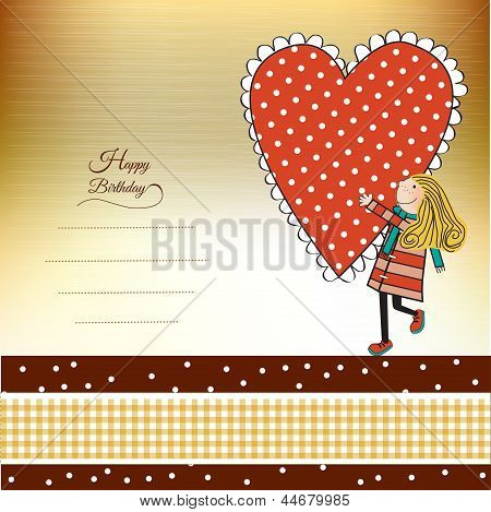 Funny Girl With Hearts. Doodle Cartoon Character.