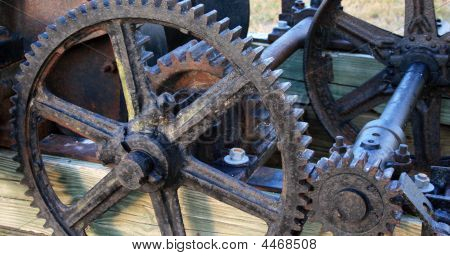 Antique Gears On An Old Machine