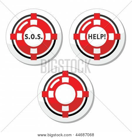 Life belt, help, s.o.s. vector icons set