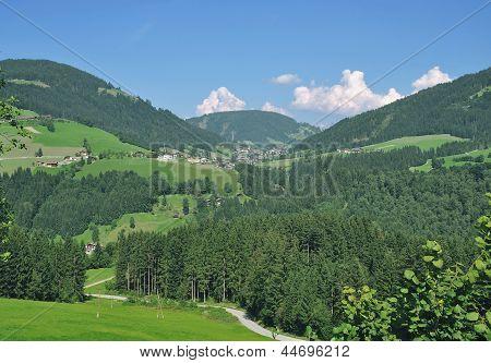View into Wildschoenau Valley with Village of Oberau in Background, North Tirol,Austria poster