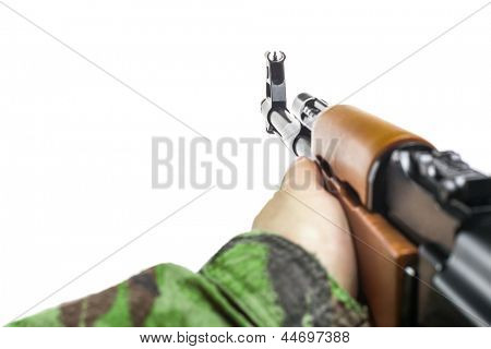Soldiers hand with rifle AK-47 isolated on white